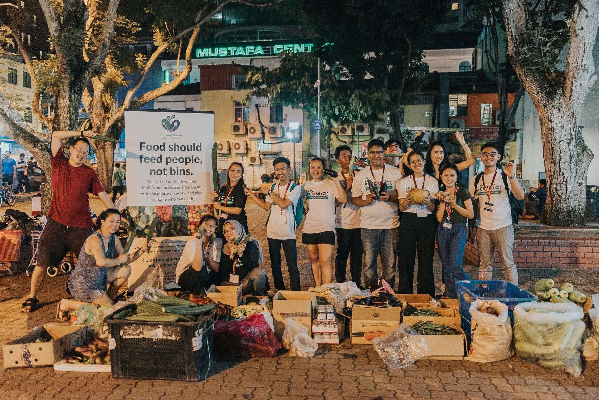 Some of the participants from the Environment Sustainability Team 4 – Food Rescue with the SG Food Rescue team at Little India, Singapore as part of the programme activities. – PB